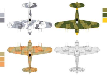 view from the plane: Ilustraci�n de alta vectorial detallado de avi�n militar de edad - vista desde arriba, con tres patrones de camuflaje Vectores