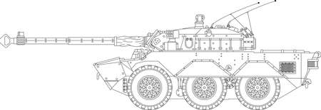 panzer: High detailed vector illustration of a modern tank - side view  Illustration
