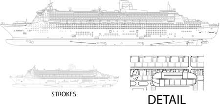 High detailed vector illustration of a cruise ship - side view