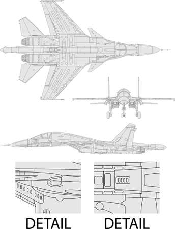 military aircraft: High detailed vector illustration of a modern military airplane  three side view