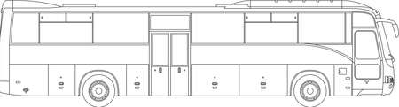 High detailed vector illustration of a passenger bus - side view