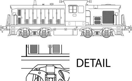 High detailed vector illustration of modern locomotive  Illustration