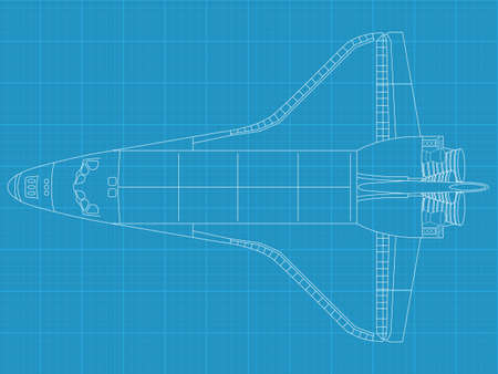 High detailed vector illustration of a space shuttle on blueprint paper - top view Ilustração