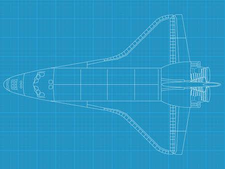 shuttle: Hoge gedetailleerde vector illustratie van een space shuttle op de blauwdruk papier - bovenaanzicht