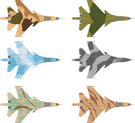 military aircraft: High detailed vector illustration of a modern military airplane top view with six camouflage patterns