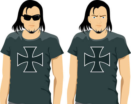 iron cross: illustration of a young man with long hair wearing a black t-shirt Illustration
