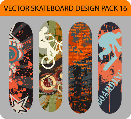 Grunge pack of 4 skateboard designs Stock Vector - 13878712