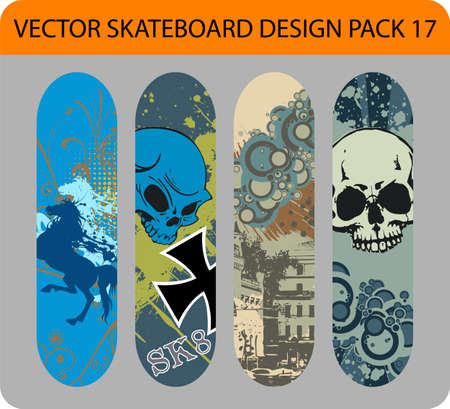 Grunge pack of 4 skateboard designs Vector