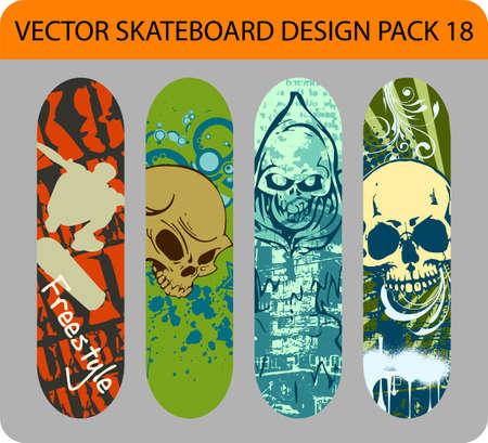Grunge pack of 4 skateboard designs Stock Vector - 13878703