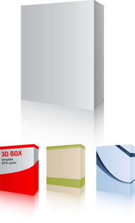 Vector pack with four 3D software box - easy editable