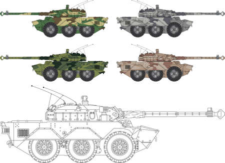 High detailed illustration of a modern tank - side view  with four camouflage colors Vector