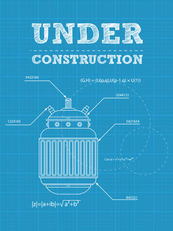 illustration of under construction text on a blueprint paper with electric device Vector