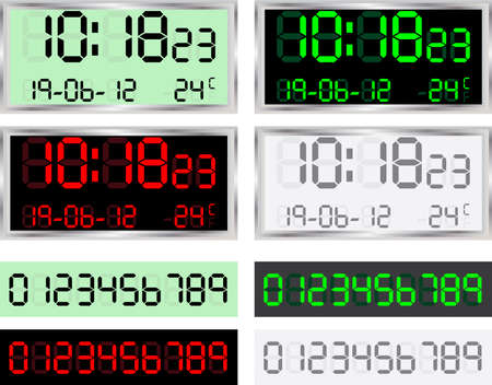 illustration of a digital clock display on various colors