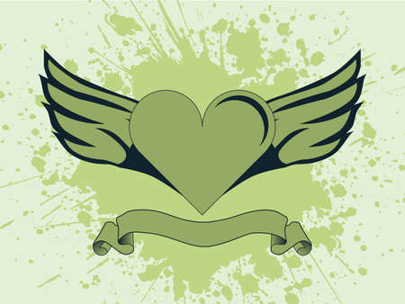 heart with wings:  illustration of a heart with wings and a ink splash on background