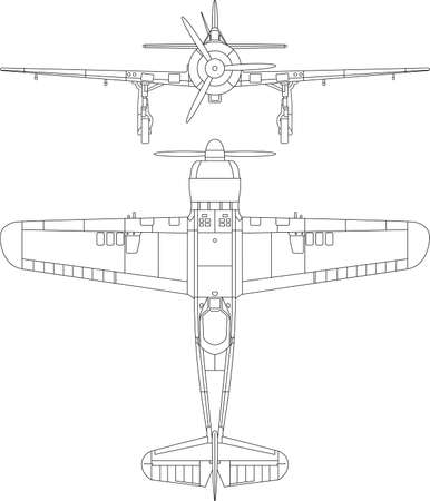 High detailed illustration of old Romanian military airplane - IAR 80  top and front view Stock Vector - 14201503