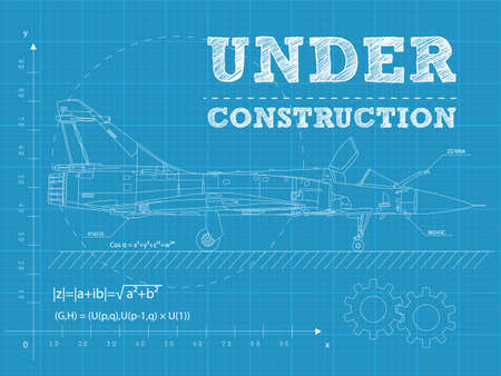 large build:  illustration of under construction text on a blueprint paper with airplane