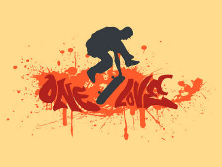 illustration with a skateboarder silhouette, red ink splash and graffiti text - one love Ilustração