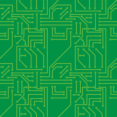 pcb: seamless pattern with electronic printed circuit board Illustration