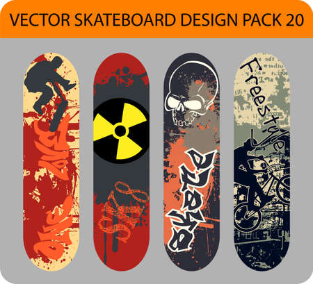 Grunge  pack of 4 skateboard designs  Vector