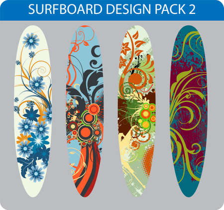 pack of four colorful surfboard designs