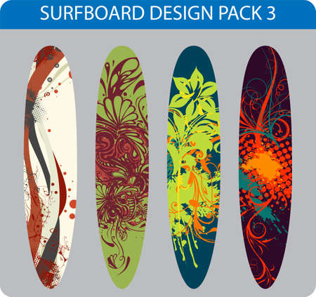 Vector pack of four colorful surfboard designs  Vector