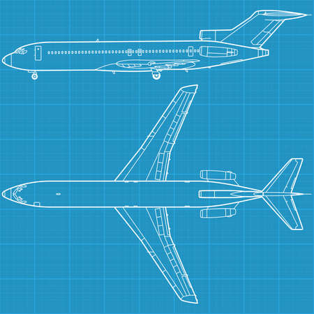 high detailed illustration of modern civil airplane Vector