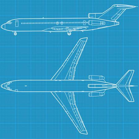interceptor: high detailed illustration of modern civil airplane