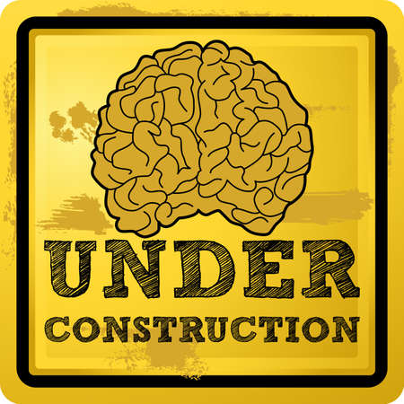 lobes: Abstract illustration of a human brain with under construction text over grunge yellow background Illustration