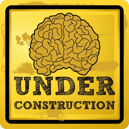 Abstracte illustratie van een menselijke hersenen met onder constructie tekst over grunge gele achtergrond Vector Illustratie