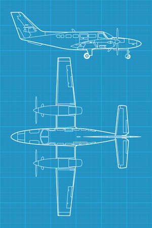high detailed illustration of small modern civil airplane  Vector