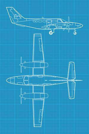 corvette: high detailed illustration of small modern civil airplane