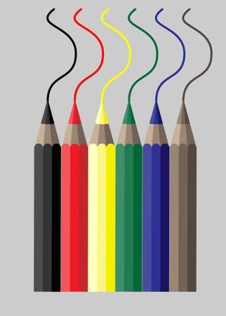 Simple illustration of six  colorful crayons Vector