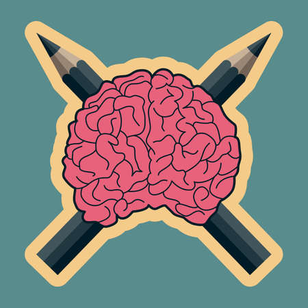 cerebellum: illustration of a human brain with crossed pencils suggesting dangerous creative minds