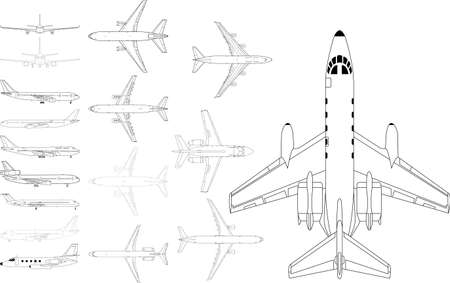 high detailed pack of various modern civil airplane  矢量图像