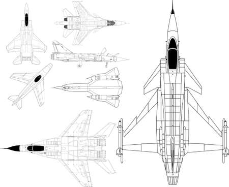 pack with high detailed modern military airplanes Illustration