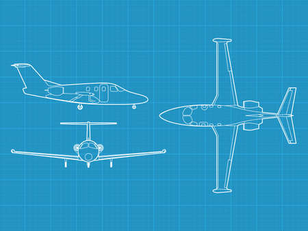 high detailed illustration of small modern civil airplane - top, side and front view