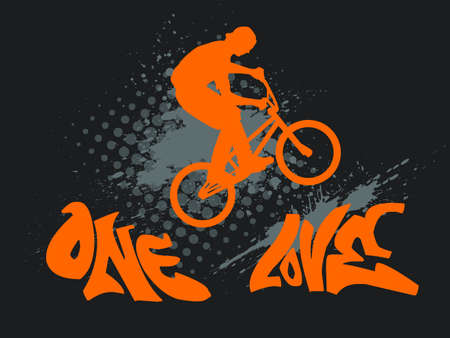 bmx bike: illustration with a biker silhouette, ink splash and graffiti text - one love