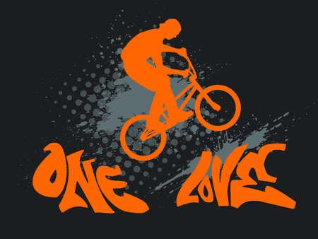 illustration avec une silhouette motard, éclaboussure d'encre et le texte de graffiti - one love