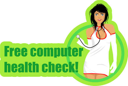 cartoon illustration of a sexy nurse  with text - free computer health check Vector