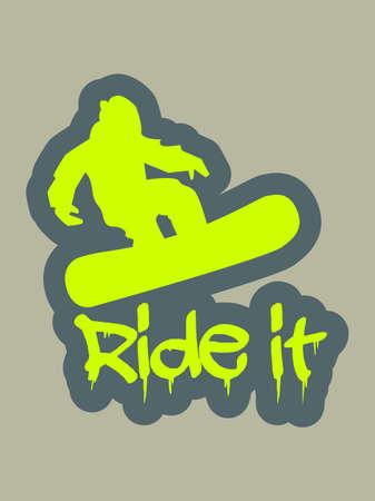 Snowboarder Silhouette mit frisch gemalten Text ride it Standard-Bild - 14291737