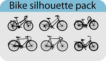 Sechs verschiedenen Fahrrad Silhouetten Standard-Bild - 14988459