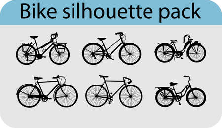 bicycle silhouette: six various bike silhouettes Illustration