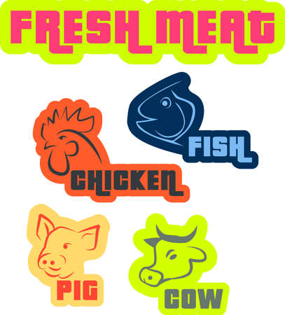 various meat type - cow, pig, chicken and fish Vector