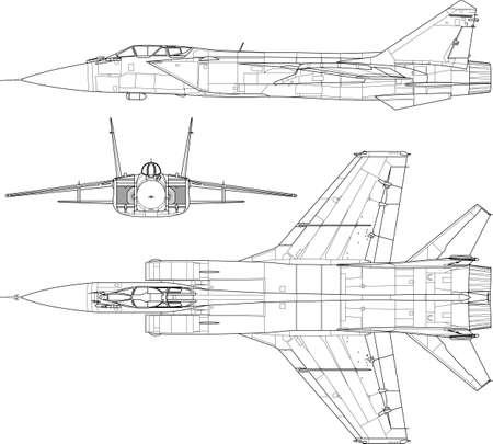 a modern military airplane three side view  矢量图像