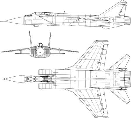 military aircraft: a modern military airplane three side view  Illustration