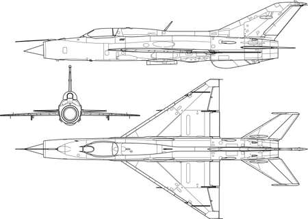 military silhouettes: a modern military airplane three side view  Illustration