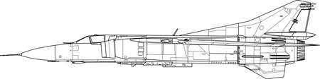 jet airplane: a modern military airplane - side view