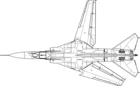 military aircraft: a modern military airplane - top view Illustration