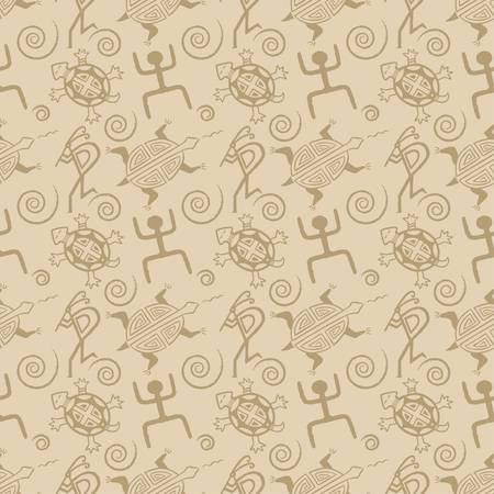 motifs: Native American seamless pattern vector illustration with abstract motifs Illustration