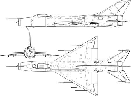 High detailed vector illustration of a modern military airplane three side view  Vector